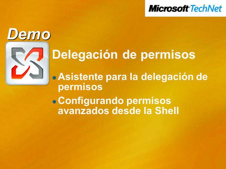 Demo Delegación de permisos Asistente para la delegación de permisos Configurando permisos avanzados desde la Shell Demo Demo