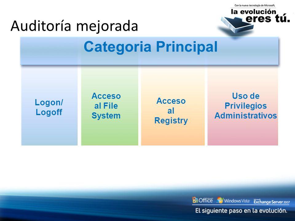 Auditoría mejorada Categoria Principal Logon/ Logoff Acceso al File System Acceso al Registry Uso de Privilegios Administrativos