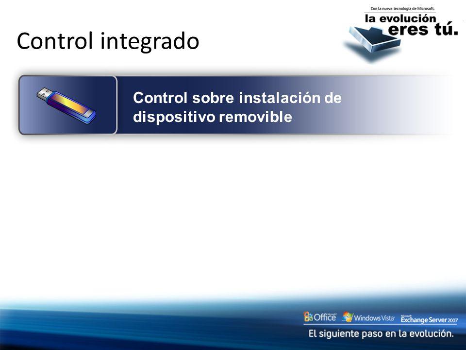 Control integrado Control sobre instalación de dispositivo removible