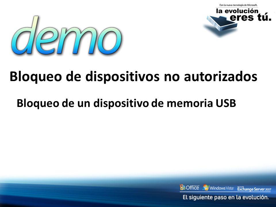 Bloqueo de dispositivos no autorizados Bloqueo de un dispositivo de memoria USB
