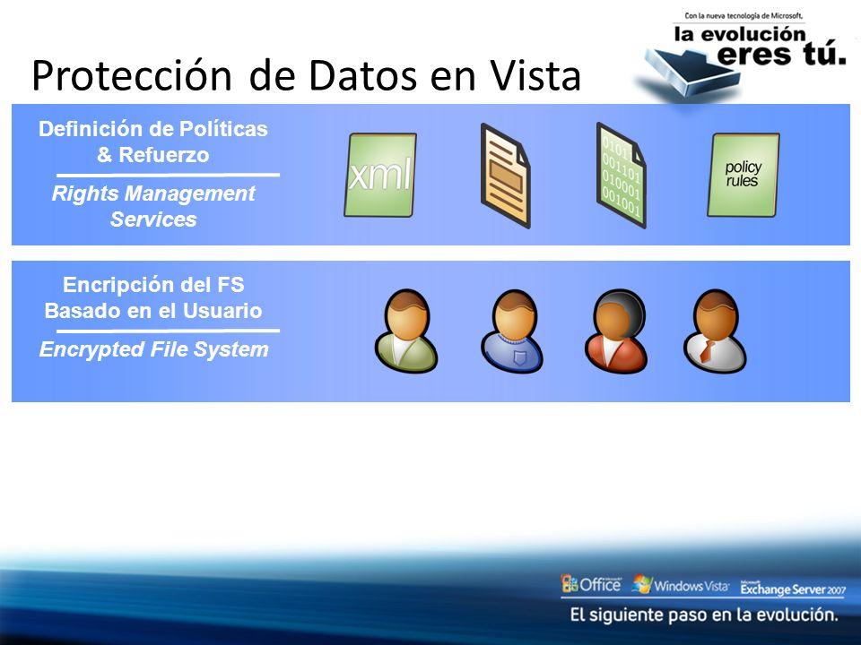 Protección de Datos en Vista Encripción del FS Basado en el Usuario Encrypted File System Definición de Políticas & Refuerzo Rights Management Service