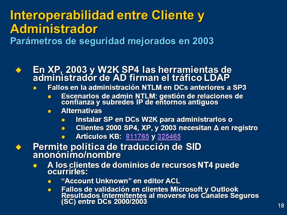 18 Interoperabilidad entre Cliente y Administrador Parámetros de seguridad mejorados en 2003 En XP, 2003 y W2K SP4 las herramientas de administrador d
