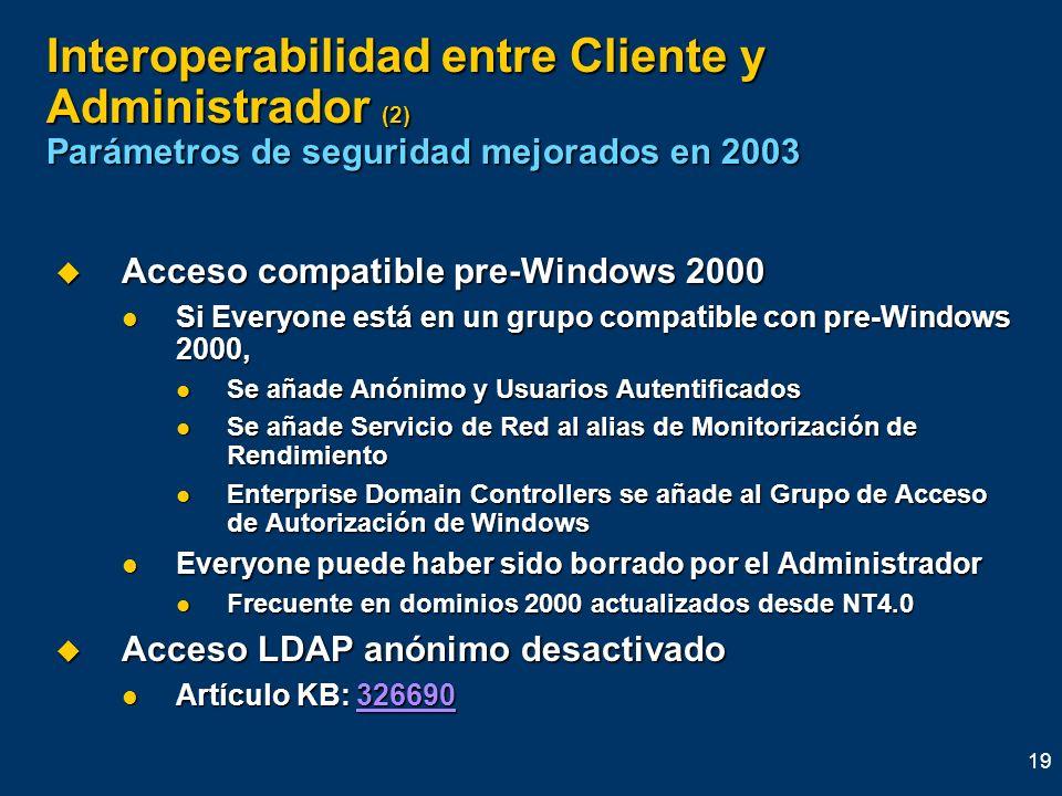 19 Interoperabilidad entre Cliente y Administrador (2) Parámetros de seguridad mejorados en 2003 Acceso compatible pre-Windows 2000 Acceso compatible