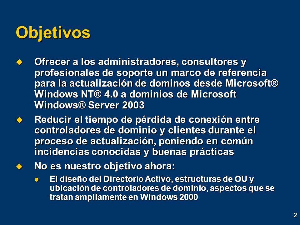 3 Convenciones en esta presentación NT4 se refiere a Windows NT 4.0 Server NT4 se refiere a Windows NT 4.0 Server 2000 se refiere a la familia de servidores Windows 2000 Server 2000 se refiere a la familia de servidores Windows 2000 Server 2003 se refiere a la familia de servidores Windows Server 2003 2003 se refiere a la familia de servidores Windows Server 2003 XP se refiere a la familia Windows XP XP se refiere a la familia Windows XP Win9X se refiere a Windows 95, Windows 98, Windows 98 Standard Edition, y la familia de clientes Windows Millennium Win9X se refiere a Windows 95, Windows 98, Windows 98 Standard Edition, y la familia de clientes Windows Millennium E2K es abreviatura de Exchange 2000 E2K es abreviatura de Exchange 2000 DC es abreviatura de domain controller DC es abreviatura de domain controller
