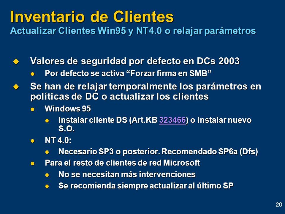 20 Inventario de Clientes Actualizar Clientes Win95 y NT4.0 o relajar parámetros Valores de seguridad por defecto en DCs 2003 Valores de seguridad por