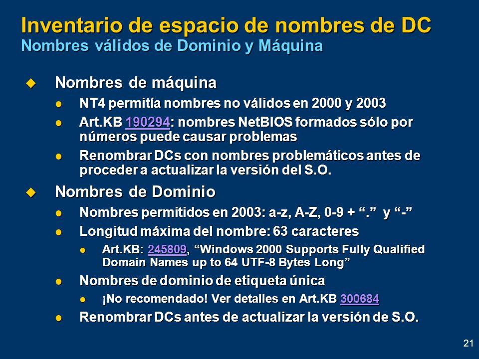 21 Inventario de espacio de nombres de DC Nombres válidos de Dominio y Máquina Nombres de máquina Nombres de máquina NT4 permitía nombres no válidos e