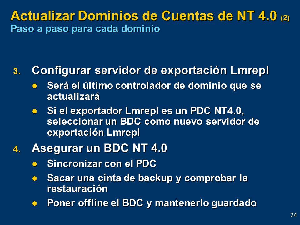 24 Actualizar Dominios de Cuentas de NT 4.0 (2) Paso a paso para cada dominio 3. Configurar servidor de exportación Lmrepl Será el último controlador