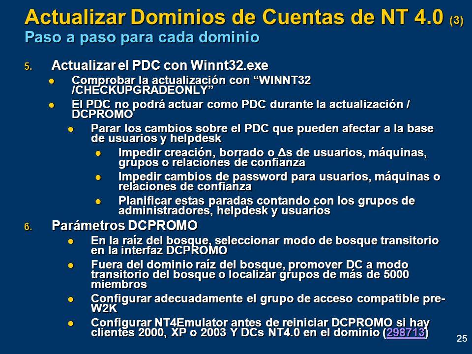 25 5. Actualizar el PDC con Winnt32.exe Comprobar la actualización con WINNT32 /CHECKUPGRADEONLY Comprobar la actualización con WINNT32 /CHECKUPGRADEO