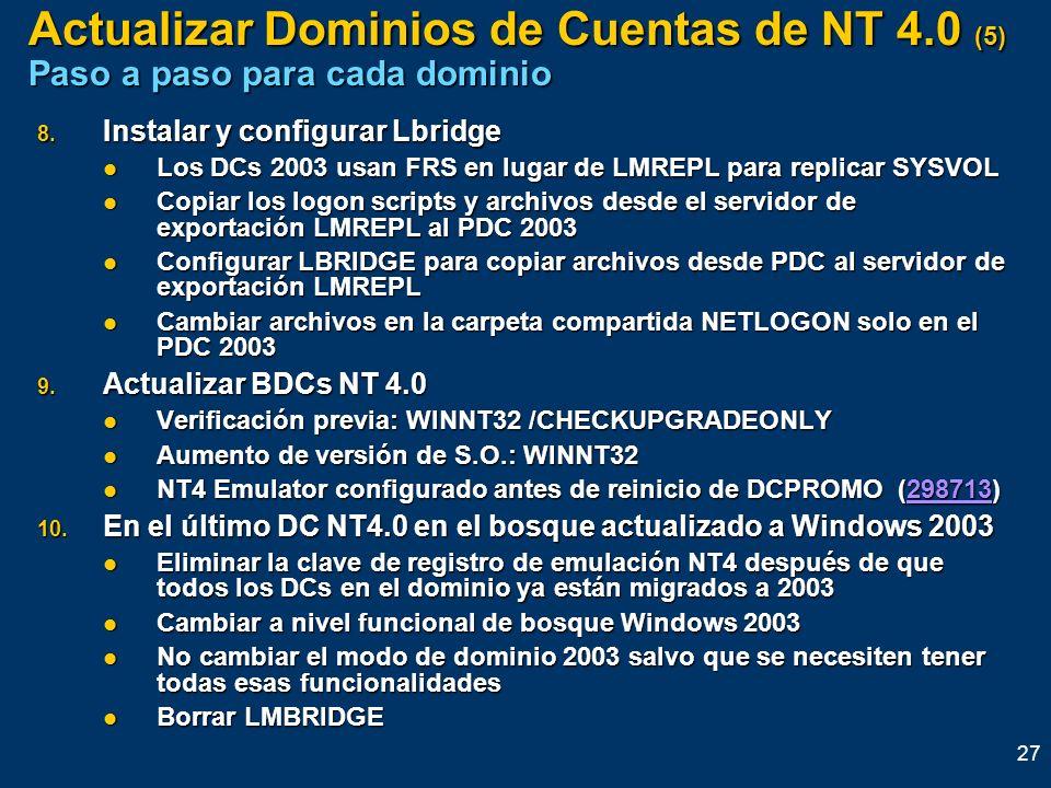 27 Actualizar Dominios de Cuentas de NT 4.0 (5) Paso a paso para cada dominio 8. Instalar y configurar Lbridge Los DCs 2003 usan FRS en lugar de LMREP