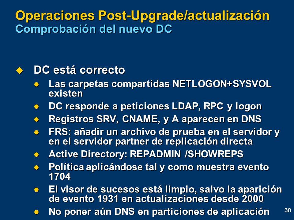 30 Operaciones Post-Upgrade/actualización Comprobación del nuevo DC DC está correcto DC está correcto Las carpetas compartidas NETLOGON+SYSVOL existen