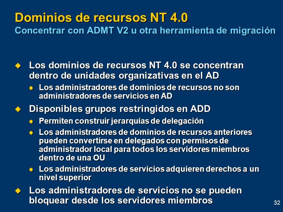 32 Dominios de recursos NT 4.0 Concentrar con ADMT V2 u otra herramienta de migración Los dominios de recursos NT 4.0 se concentran dentro de unidades