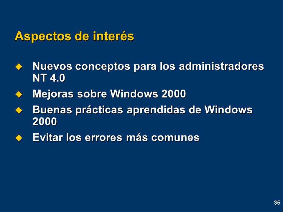 35 Aspectos de interés Nuevos conceptos para los administradores NT 4.0 Nuevos conceptos para los administradores NT 4.0 Mejoras sobre Windows 2000 Me