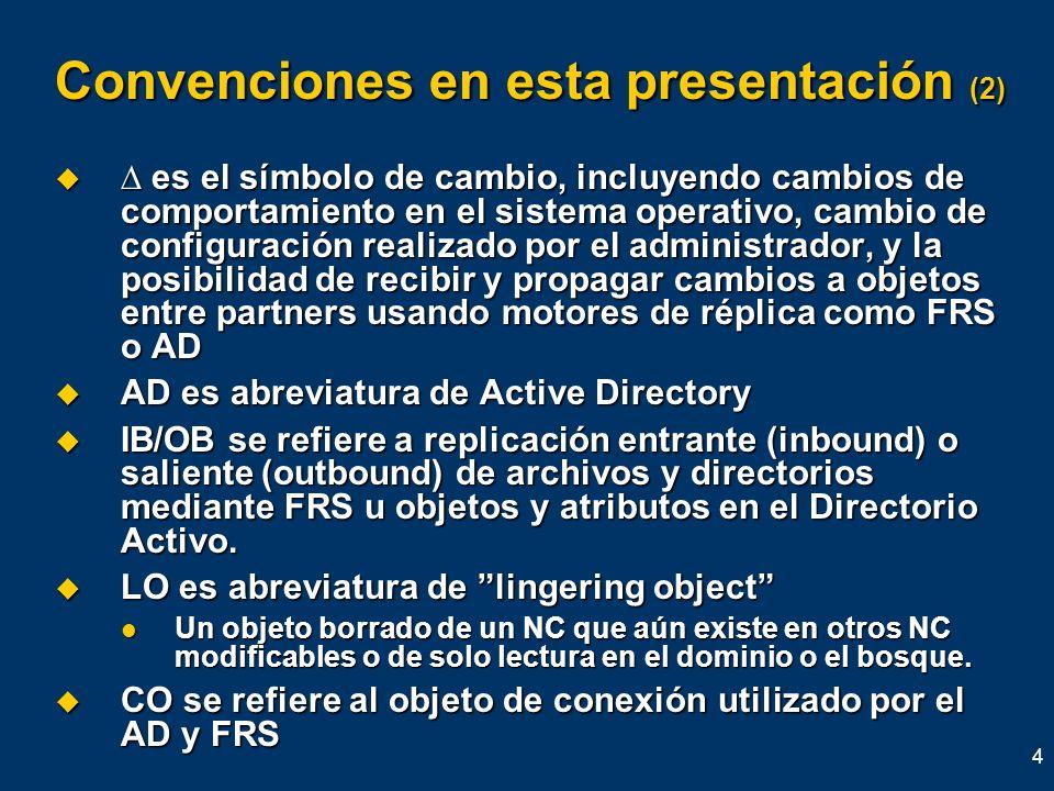 4 Convenciones en esta presentación (2) es el símbolo de cambio, incluyendo cambios de comportamiento en el sistema operativo, cambio de configuración