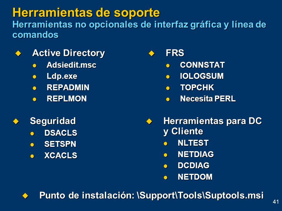 41 Herramientas de soporte Herramientas no opcionales de interfaz gráfica y línea de comandos Active Directory Active Directory Adsiedit.msc Adsiedit.