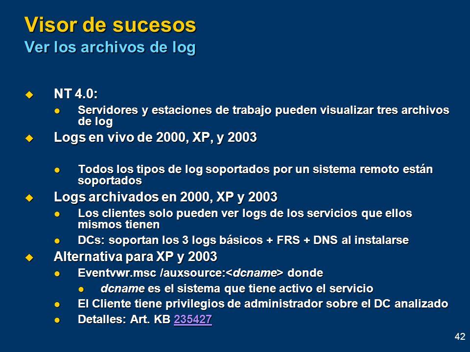 42 Visor de sucesos Ver los archivos de log NT 4.0: NT 4.0: Servidores y estaciones de trabajo pueden visualizar tres archivos de log Servidores y est