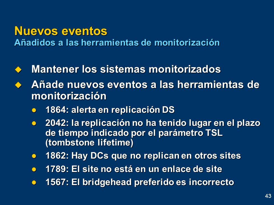 43 Nuevos eventos Añadidos a las herramientas de monitorización Mantener los sistemas monitorizados Mantener los sistemas monitorizados Añade nuevos e