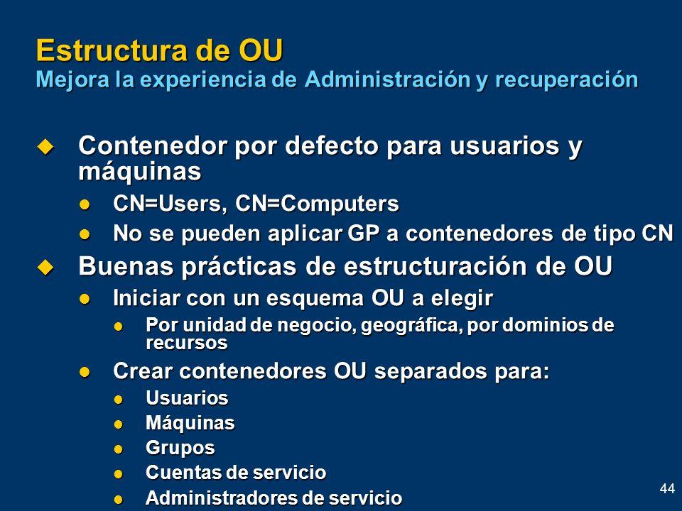 44 Estructura de OU Mejora la experiencia de Administración y recuperación Contenedor por defecto para usuarios y máquinas Contenedor por defecto para