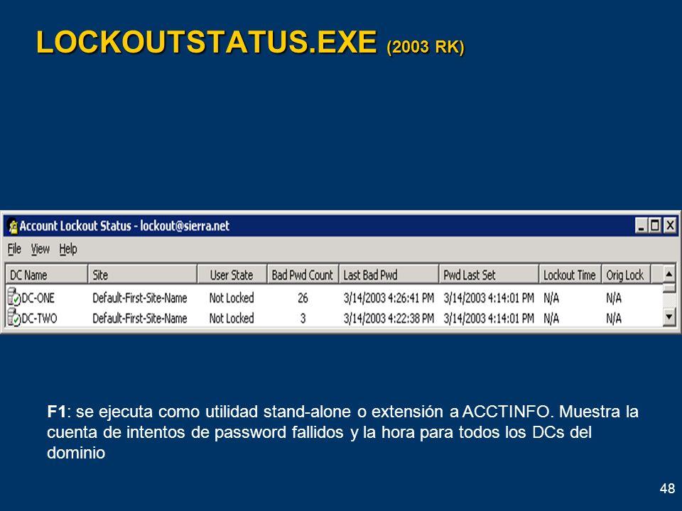 48 LOCKOUTSTATUS.EXE (2003 RK) F1: se ejecuta como utilidad stand-alone o extensión a ACCTINFO. Muestra la cuenta de intentos de password fallidos y l