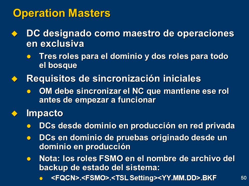 50 Operation Masters DC designado como maestro de operaciones en exclusiva DC designado como maestro de operaciones en exclusiva Tres roles para el do