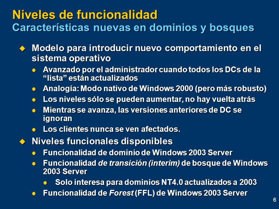 6 Niveles de funcionalidad Características nuevas en dominios y bosques Modelo para introducir nuevo comportamiento en el sistema operativo Modelo par