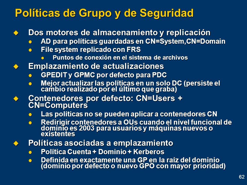 62 Políticas de Grupo y de Seguridad Dos motores de almacenamiento y replicación Dos motores de almacenamiento y replicación AD para políticas guardad