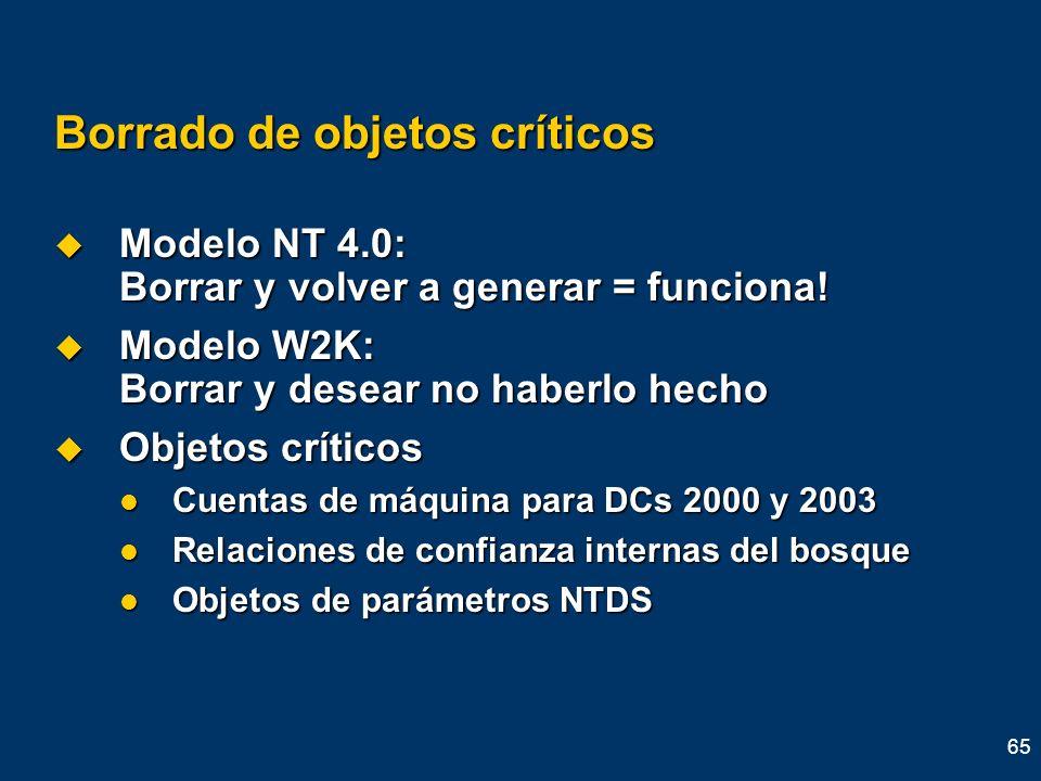 65 Borrado de objetos críticos Modelo NT 4.0: Borrar y volver a generar = funciona! Modelo NT 4.0: Borrar y volver a generar = funciona! Modelo W2K: B