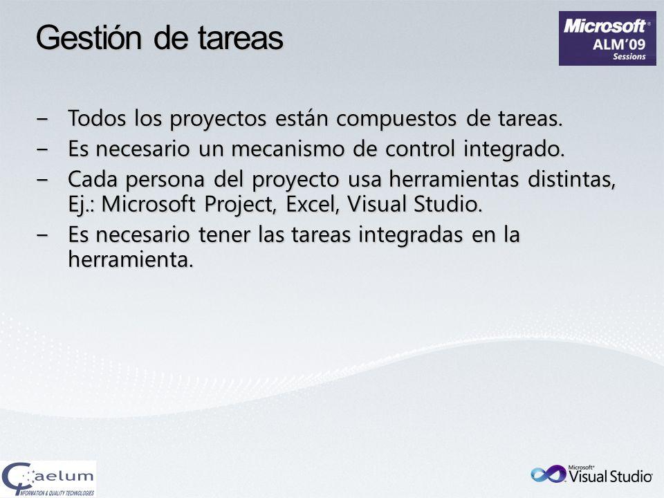 Gestión de tareas Todos los proyectos están compuestos de tareas.Todos los proyectos están compuestos de tareas. Es necesario un mecanismo de control