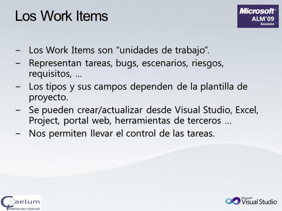 Los Work Items Los Work Items son unidades de trabajo.Los Work Items son unidades de trabajo. Representan tareas, bugs, escenarios, riesgos, requisito