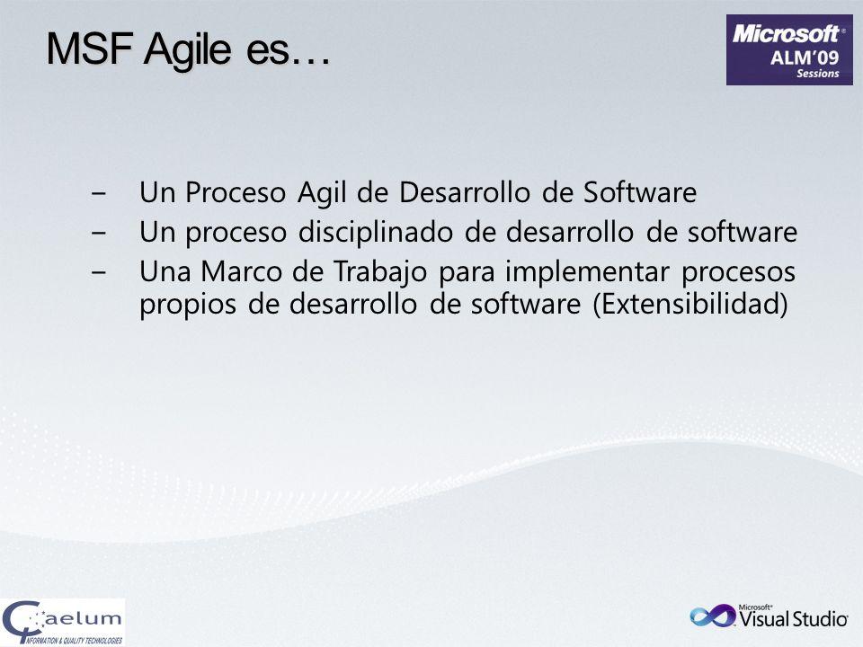MSF Agile es… Un Proceso Agil de Desarrollo de Software Un proceso disciplinado de desarrollo de software Una Marco de Trabajo para implementar proces