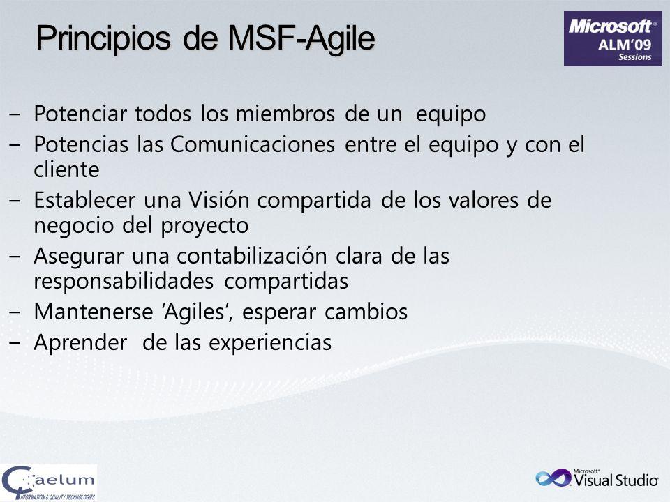 Principios de MSF-Agile Potenciar todos los miembros de un equipo Potencias las Comunicaciones entre el equipo y con el cliente Establecer una Visión