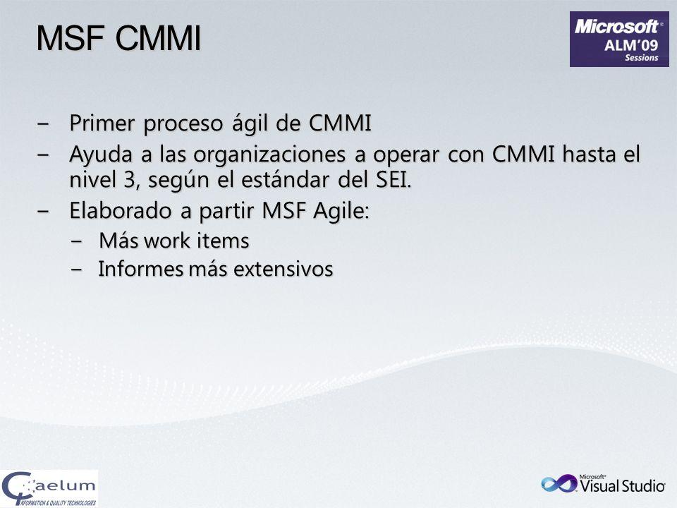 MSF CMMI Primer proceso ágil de CMMIPrimer proceso ágil de CMMI Ayuda a las organizaciones a operar con CMMI hasta el nivel 3, según el estándar del S