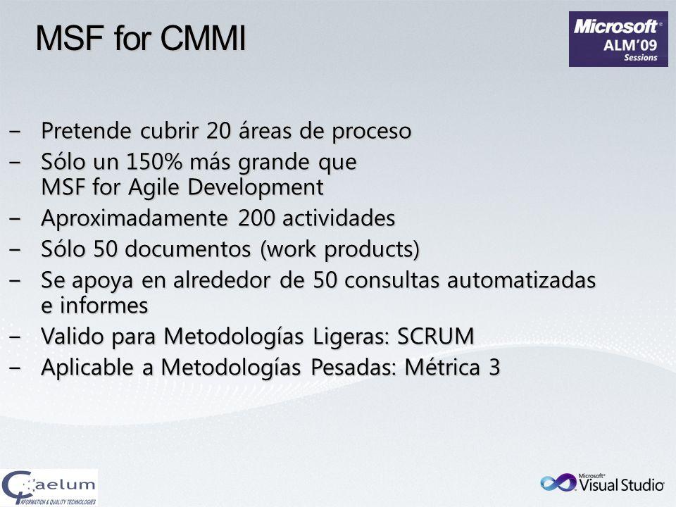 Pretende cubrir 20 áreas de procesoPretende cubrir 20 áreas de proceso Sólo un 150% más grande que MSF for Agile DevelopmentSólo un 150% más grande qu