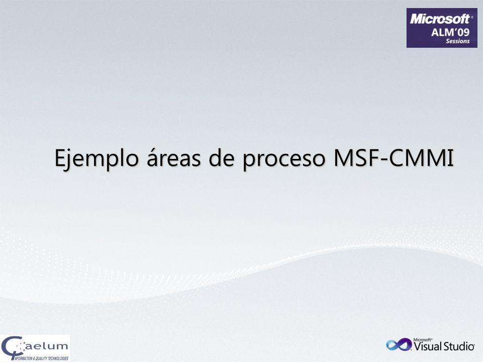 Ejemplo áreas de proceso MSF-CMMI