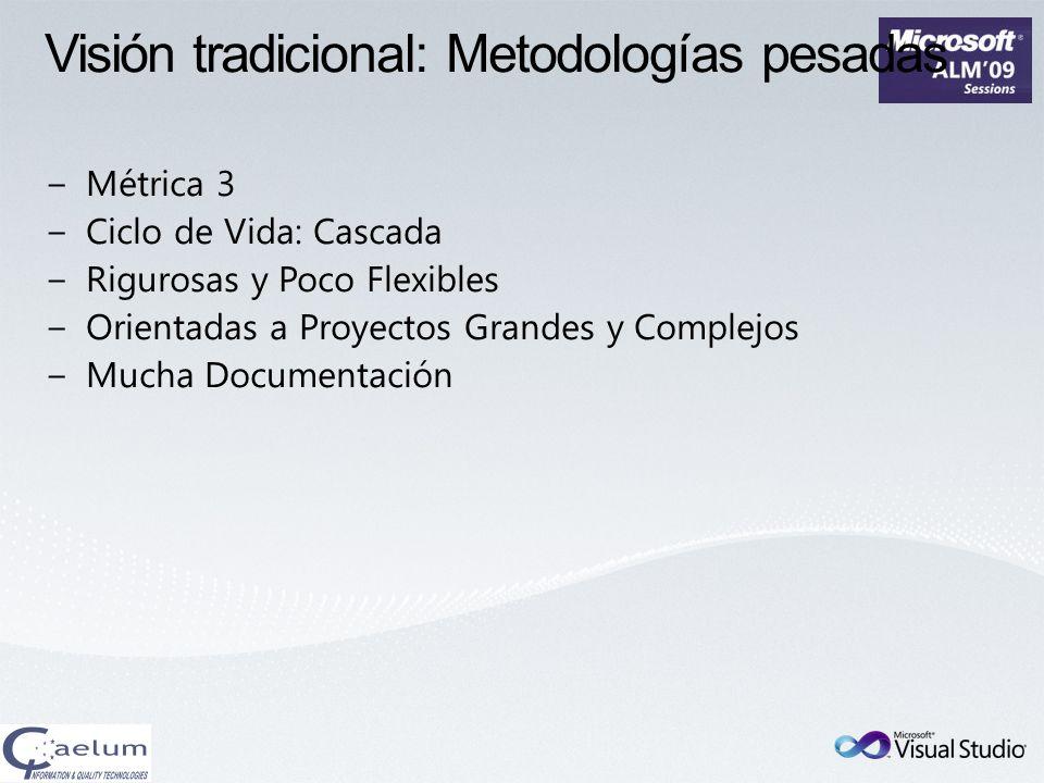 Visión tradicional: Metodologías pesadas Métrica 3 Ciclo de Vida: Cascada Rigurosas y Poco Flexibles Orientadas a Proyectos Grandes y Complejos Mucha
