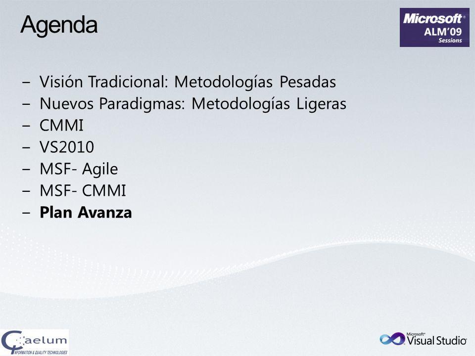 Agenda Visión Tradicional: Metodologías Pesadas Nuevos Paradigmas: Metodologías Ligeras CMMI VS2010 MSF- Agile MSF- CMMI Plan Avanza