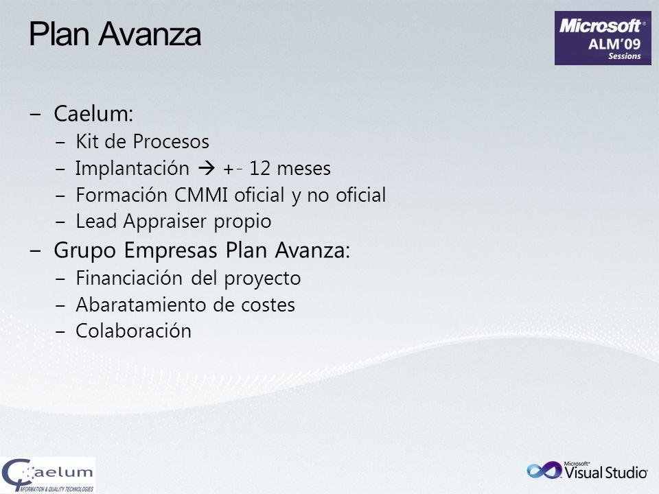 Caelum: Kit de Procesos Implantación +- 12 meses Formación CMMI oficial y no oficial Lead Appraiser propio Grupo Empresas Plan Avanza: Financiación de