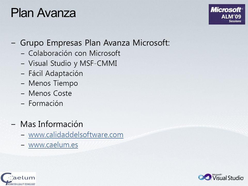 Plan Avanza Grupo Empresas Plan Avanza Microsoft: Colaboración con Microsoft Visual Studio y MSF-CMMI Fácil Adaptación Menos Tiempo Menos Coste Formac