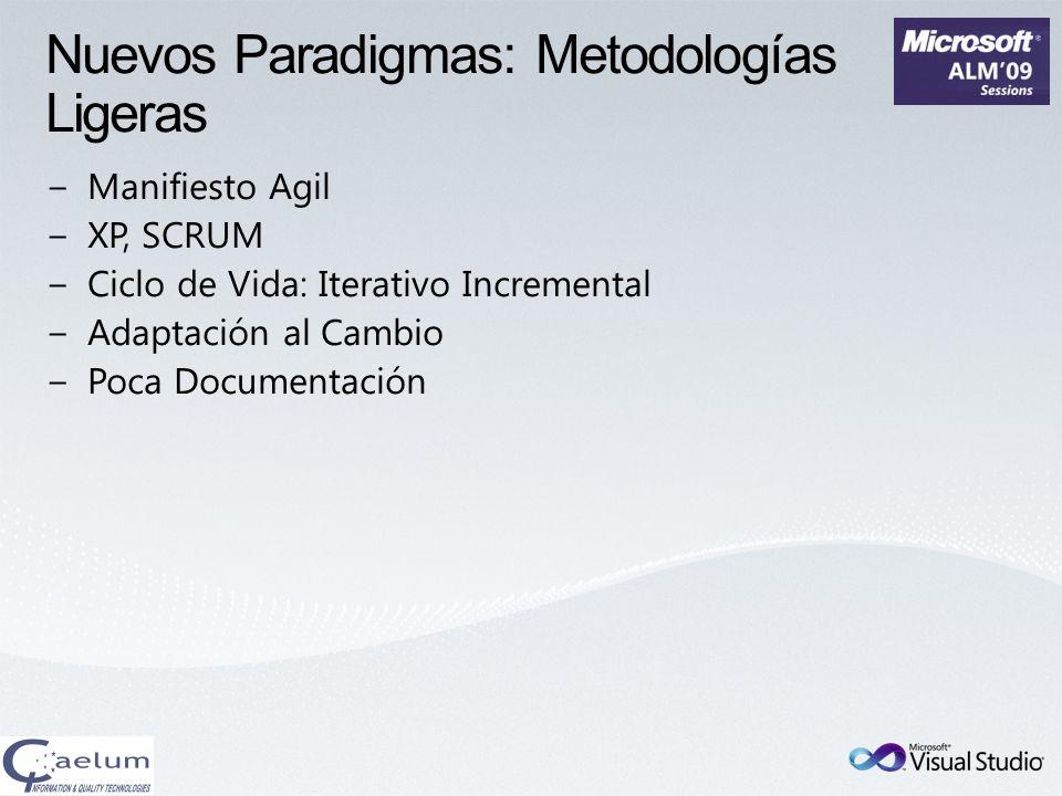 Agenda Visión tradicional: Metodologías pesadas Nuevos paradigmas: Metodologías ligeras CMMI VS2010: MSF y TFS MSF- Agile MSF- CMMI Plan Avanza