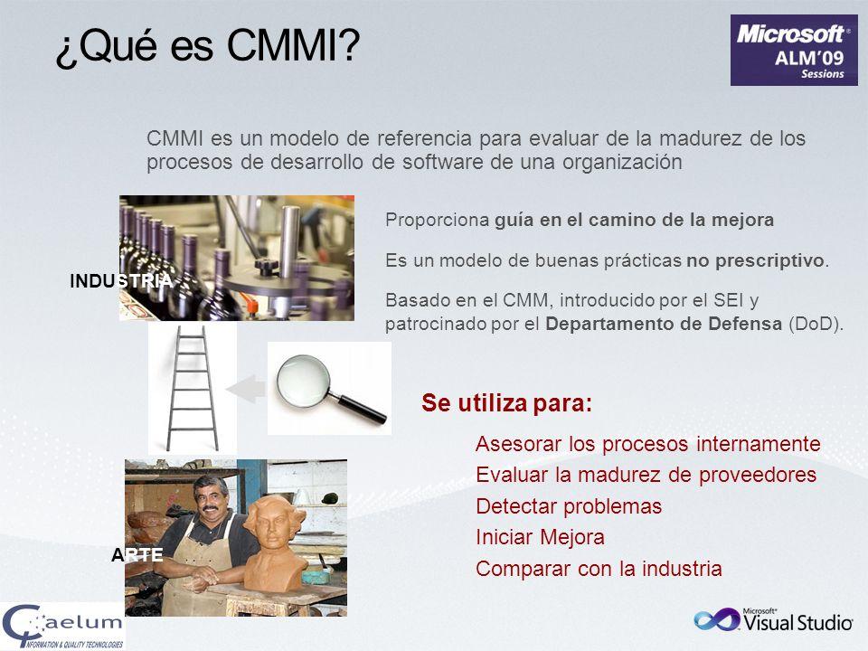 ¿Qué es CMMI? CMMI es un modelo de referencia para evaluar de la madurez de los procesos de desarrollo de software de una organización ARTE INDUSTRIA