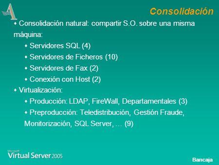 Bancaja Objetivos año 2.004 Realización de un proyecto de consolidación de servidores en Servicios Centrales.