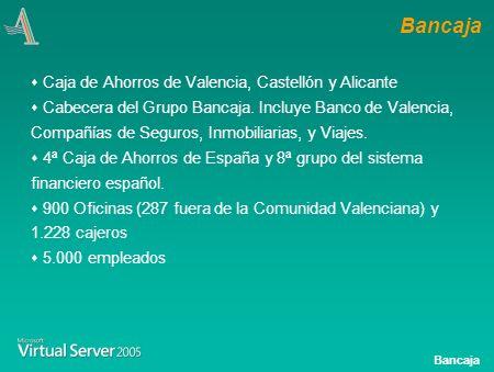 Bancaja Visión Bancaja Consolidación de Servidores Situación antes del proyecto: Oficinas y Servicios Centrales Situación Objetivo Objetivos y Resultados del año 2004 Indice