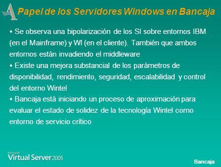 Papel de los Servidores Windows en Bancaja Se observa una bipolarización de los SI sobre entornos IBM (en el Mainframe) y WI (en el cliente).