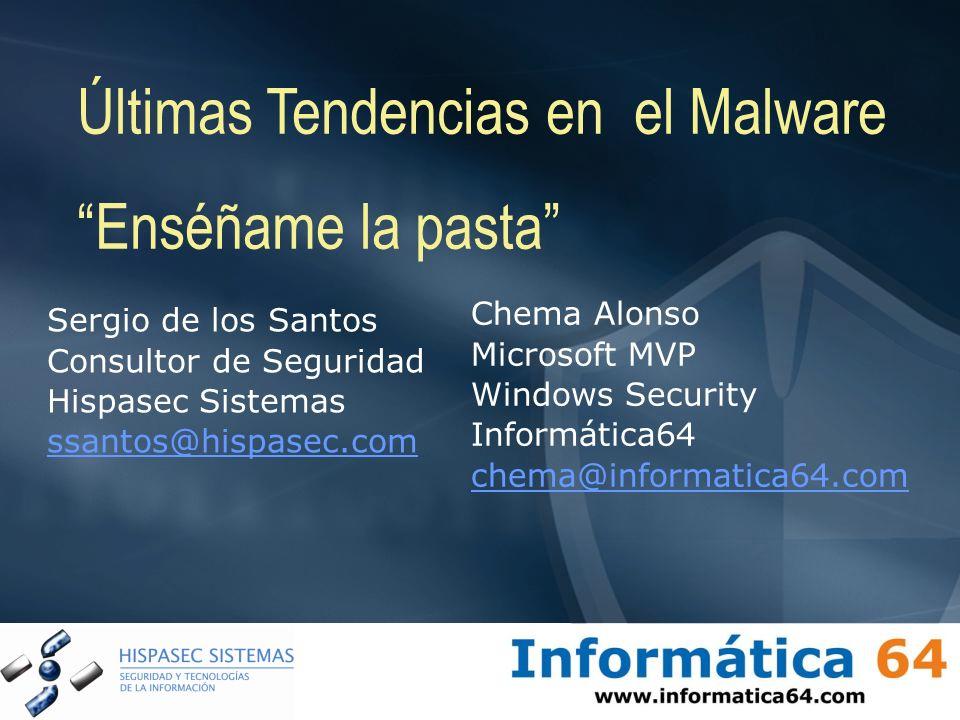 Sergio de los Santos Consultor de Seguridad Hispasec Sistemas ssantos@hispasec.com Últimas Tendencias en el Malware Enséñame la pasta Chema Alonso Mic