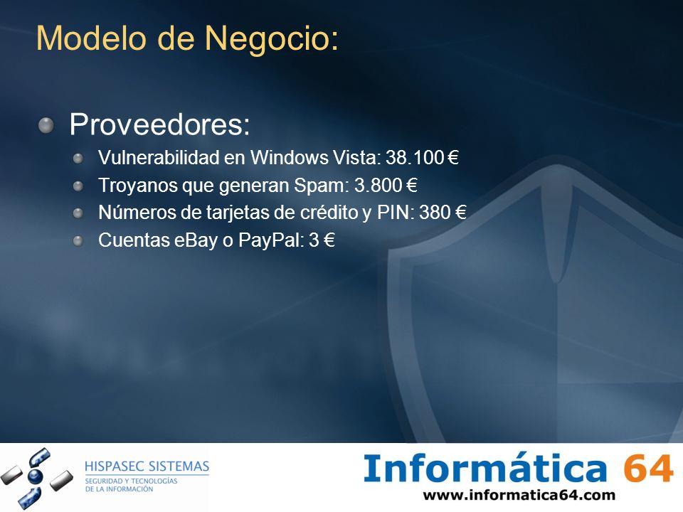 Modelo de Negocio: Proveedores: Vulnerabilidad en Windows Vista: 38.100 Troyanos que generan Spam: 3.800 Números de tarjetas de crédito y PIN: 380 Cue