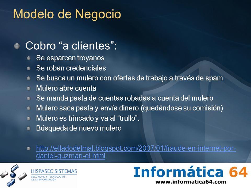 Modelo de Negocio Cobro a clientes: Se esparcen troyanos Se roban credenciales Se busca un mulero con ofertas de trabajo a través de spam Mulero abre