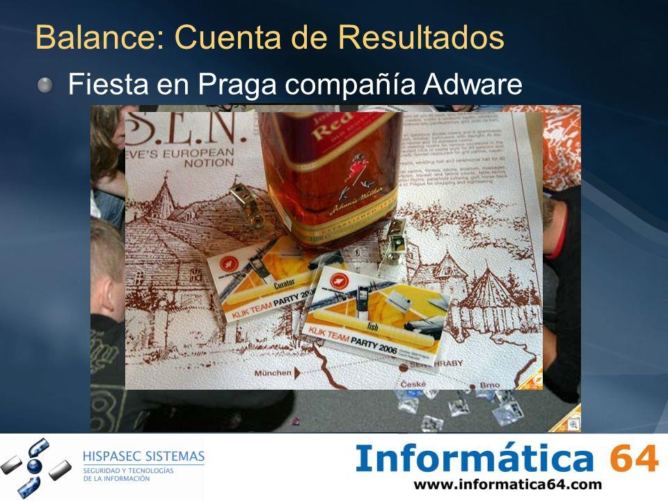 Balance: Cuenta de Resultados Fiesta en Praga compañía Adware