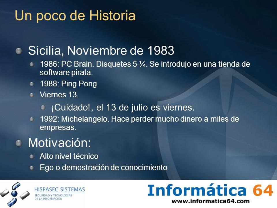 Un poco de Historia Sicilia, Noviembre de 1983 1986: PC Brain. Disquetes 5 ¼. Se introdujo en una tienda de software pirata. 1988: Ping Pong. Viernes