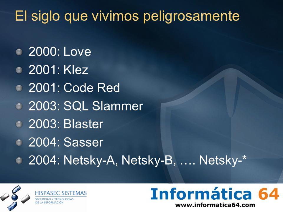 El siglo que vivimos peligrosamente 2000: Love 2001: Klez 2001: Code Red 2003: SQL Slammer 2003: Blaster 2004: Sasser 2004: Netsky-A, Netsky-B, …. Net
