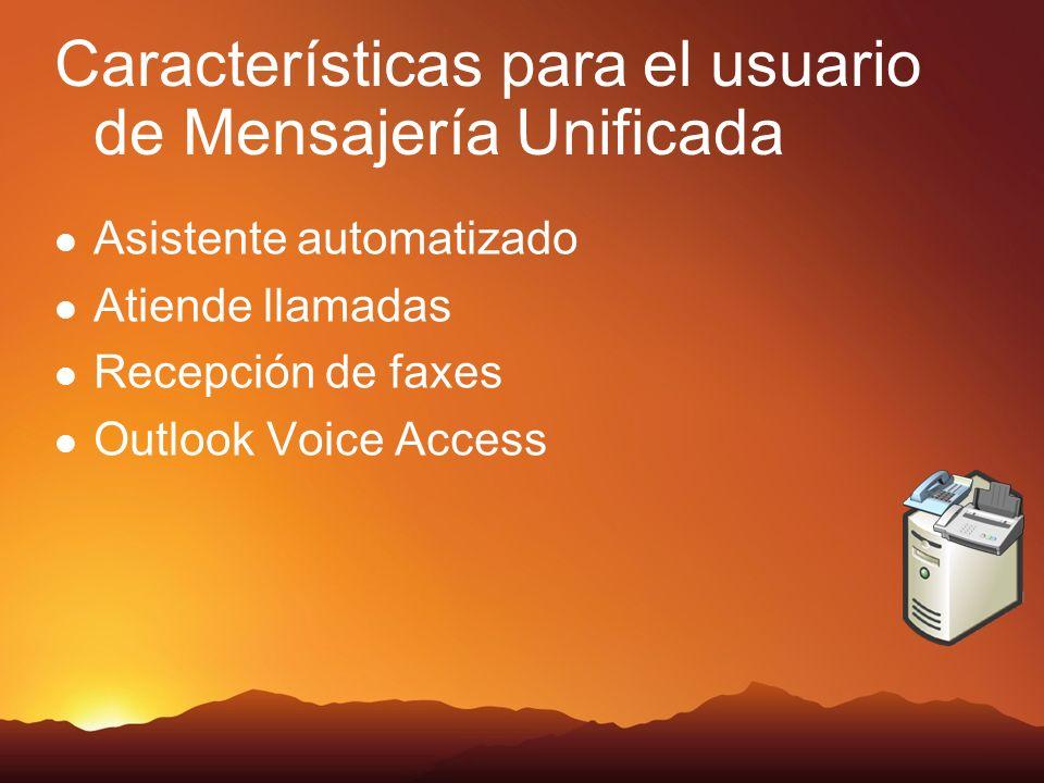 Características para el usuario de Mensajería Unificada Asistente automatizado Atiende llamadas Recepción de faxes Outlook Voice Access