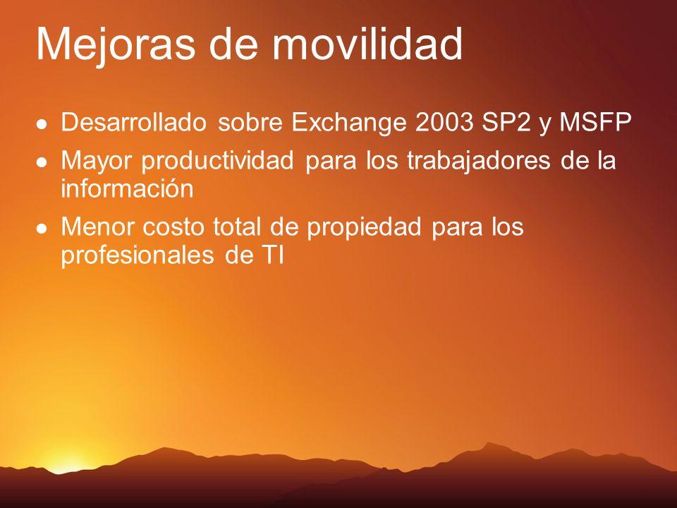 Mejoras de movilidad Desarrollado sobre Exchange 2003 SP2 y MSFP Mayor productividad para los trabajadores de la información Menor costo total de propiedad para los profesionales de TI